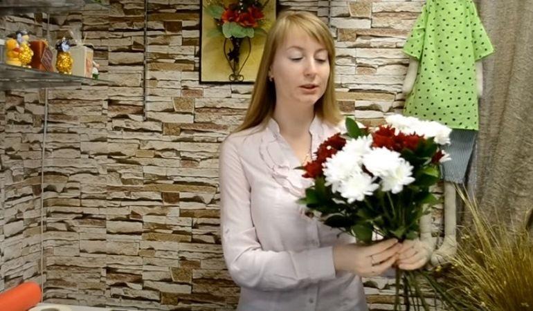 Фиксация цветов в букете