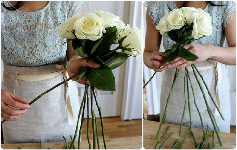 Сборка пышного букета из роз