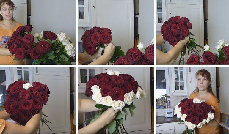 Красное сердце из роз