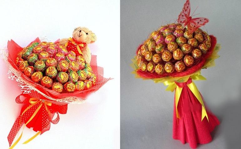Букет из конфет и игрушек