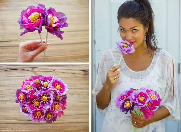 Готовая конфетно-цветочная композиция