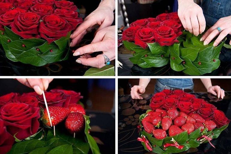 Как собрать букет из роз и ягод