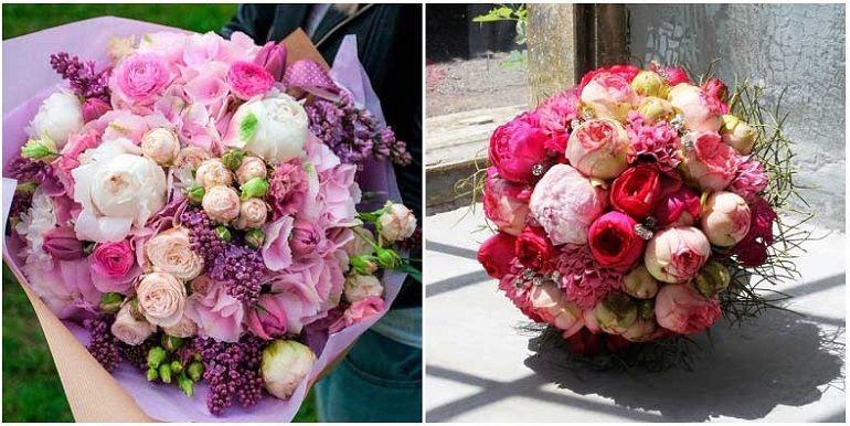 Букеты из пионов и роз