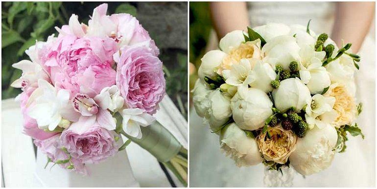 Пионы с фрезиями и орхидеями в букете