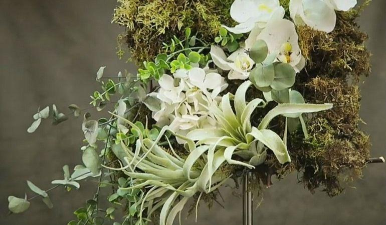 Микс из растений Real Touch и сухоцветов