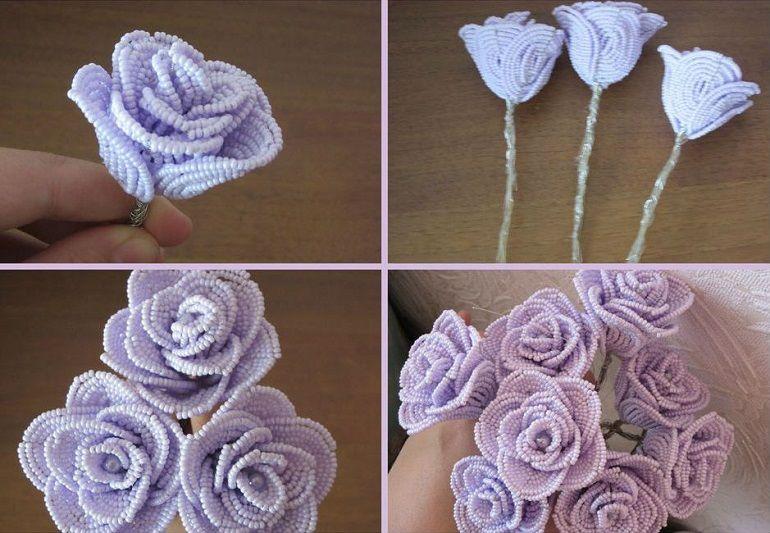Сиреневые розы из бисера