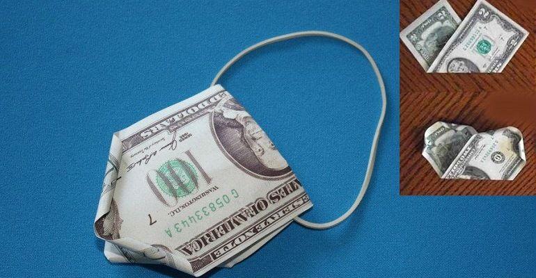 Бутон из денежной купюры