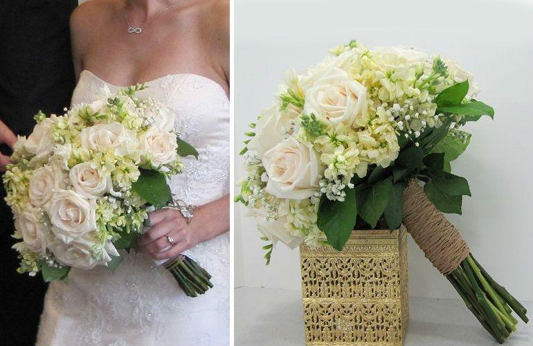 Букет невесты с гипсофилой и розами