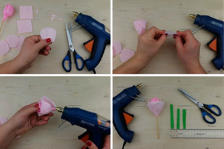 Розовый бутон из бумаги