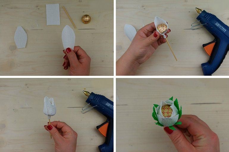 Бутон и креповой бумаги