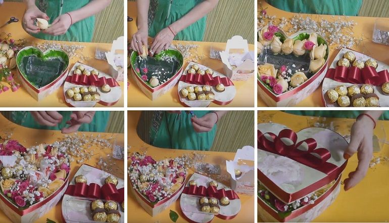 Букет-сердечко из бумаги и конфет