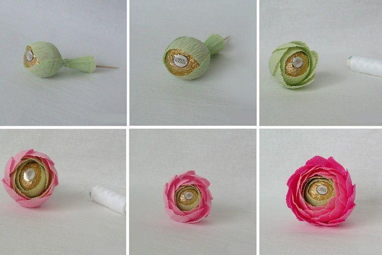 Цветок из бумаги с конфетой