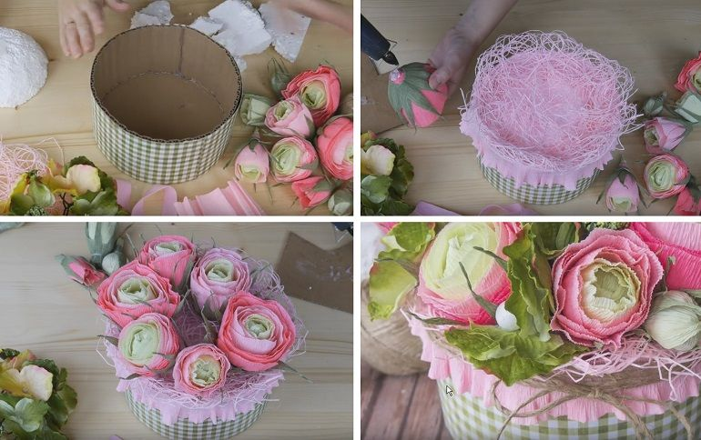 Подготовка коробки для конфетного букета