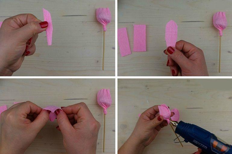 Изготовление цветка с конфетой поэтапно