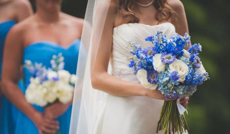 Свадебный букет в голубых тонах
