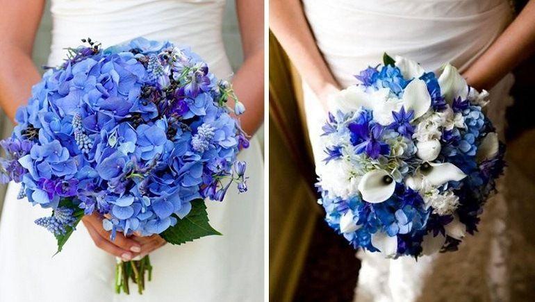 Свадебные букеты из синих цветов