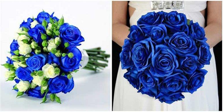 Синие розы в свадебном букете