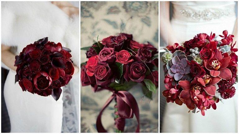Свадебные букеты в цвете марсала