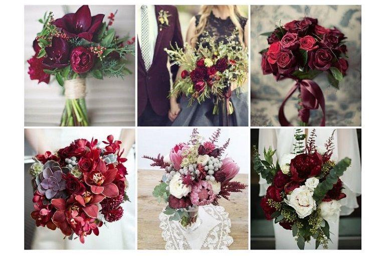 Букет невесты цвет марсала