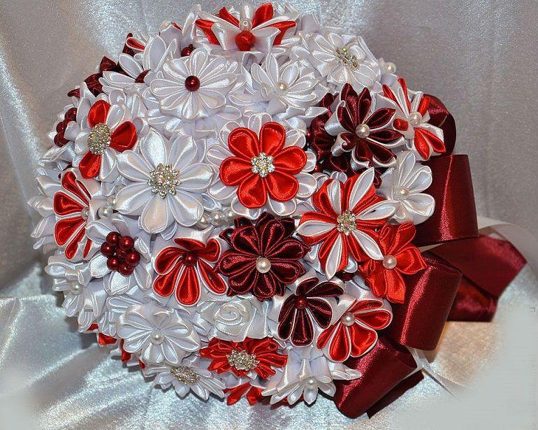 Свадебный букет канзаши