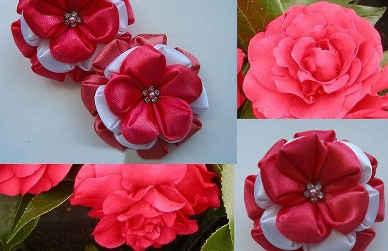 Атласный цветок в красно-белых тонах