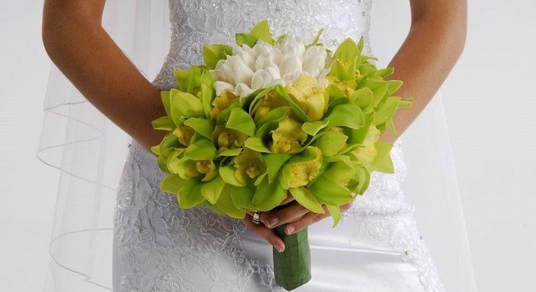 Зеленые оттенки в свадебном букете