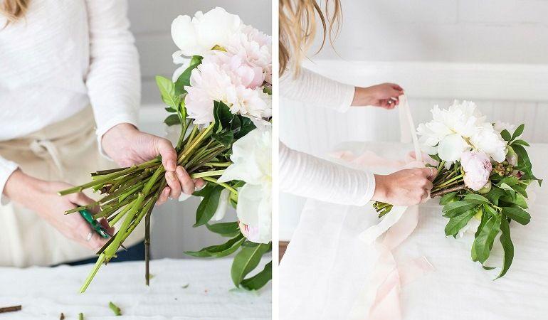 Обрезать и закрепить стебли цветов