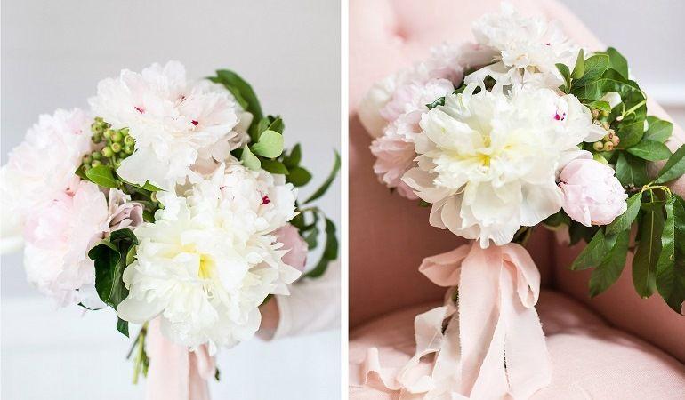 Декор букета невесты шелковой лентой