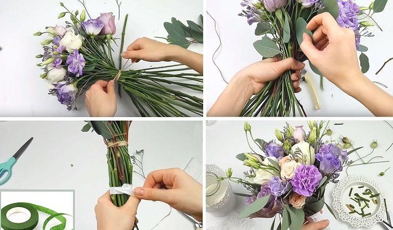Обрезка, сборка цветов в букет-растрепыш