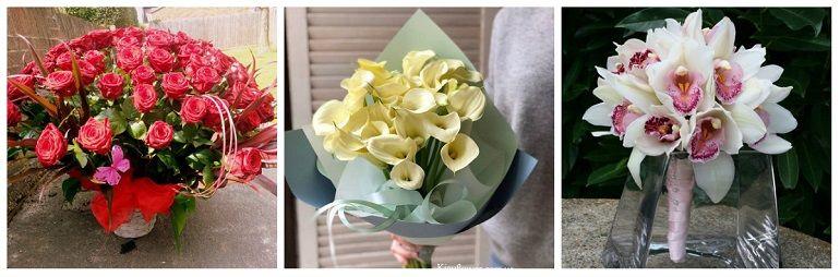Букеты из роз, калл, орхидей