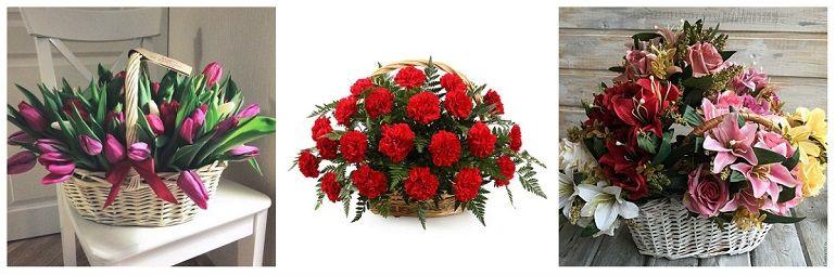 Букеты из тюльпанов, гвоздик, лилий