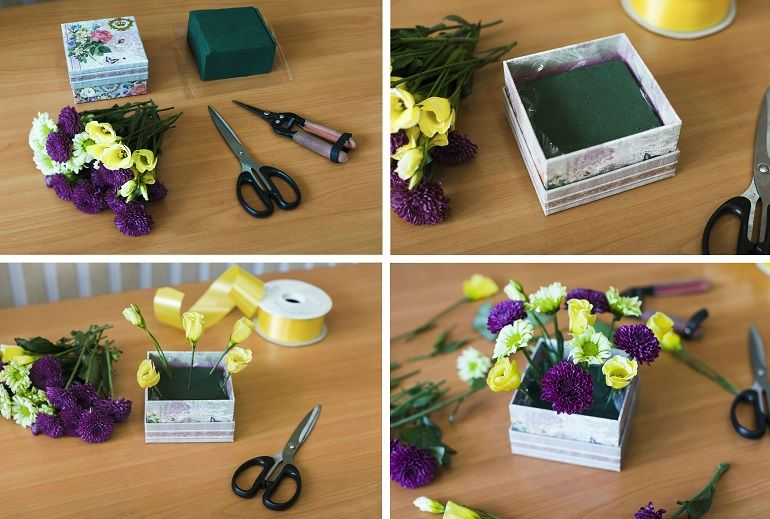 Цветочная коробочка на 1 сентября
