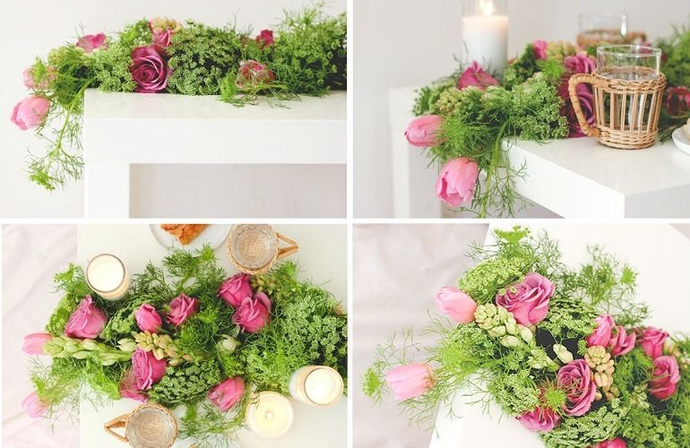 Розы, тюльпаны, амми, аспарагус, птицемлечник