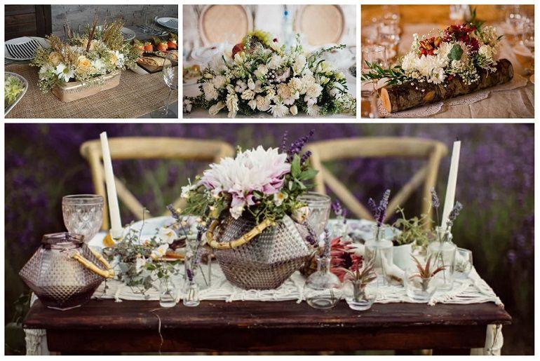 Стиль оформления букета для свадебного стола