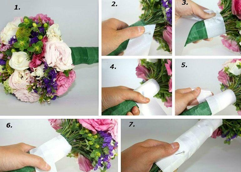 Как завязать ленту на букете пошагово