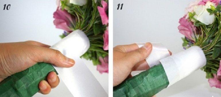 Оформление букета лентой