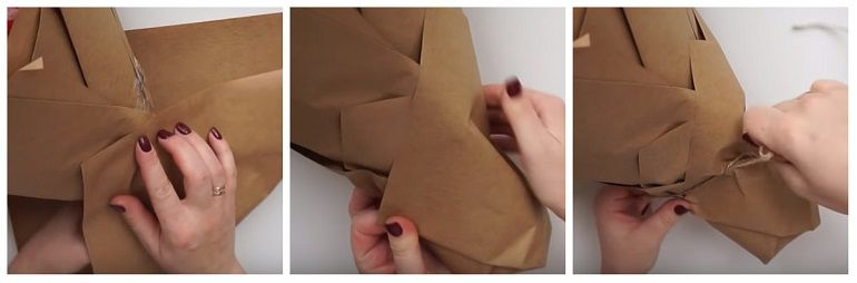 Обернуть готовый букет листами крафт бумаги