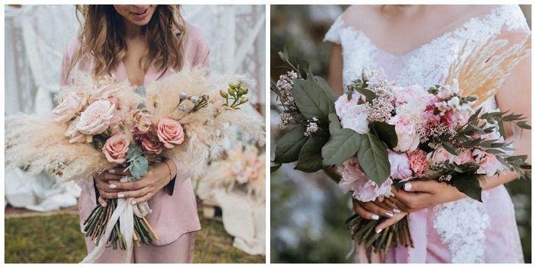 Колосья и зелень в букете невесты