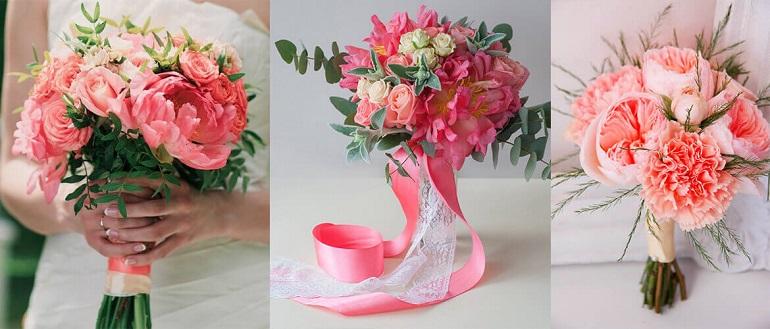 Коралловые оттенки в букете невесты