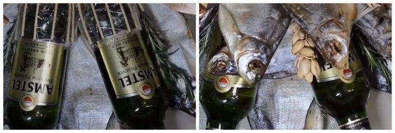 Оформление букета из рыбы и пива
