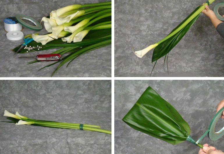 Скрепить каллу, травинки лилиграсса и лист аспидистры