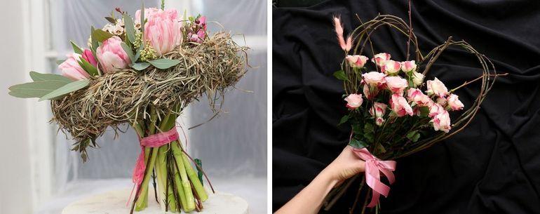 Букет из тюльпанов и роз на каркасе