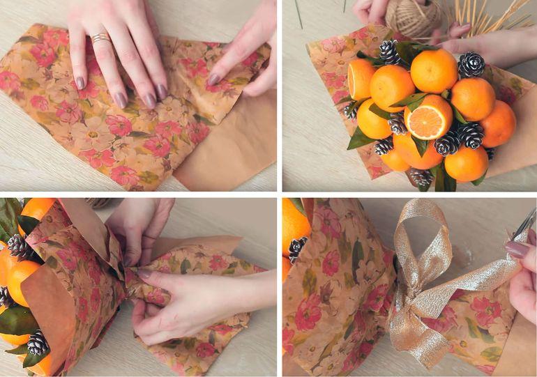 Пошаговая инструкция создания букета из апельсинов