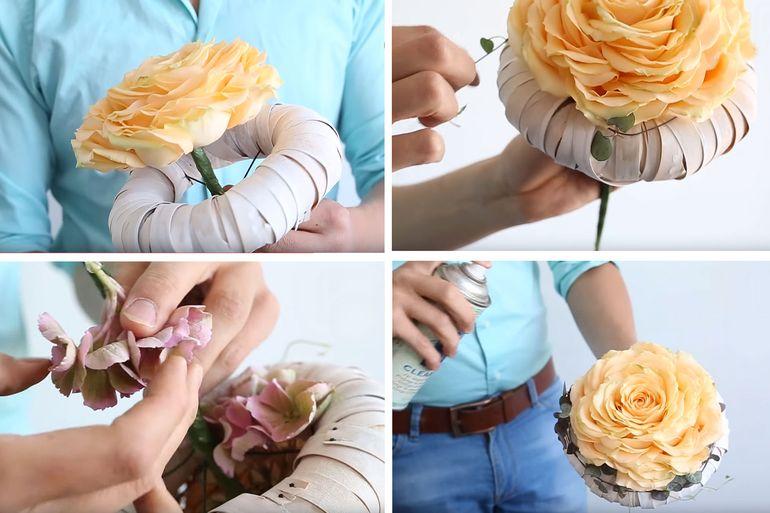 Пошаговая инструкция оформления букета невесты из лепестков роз