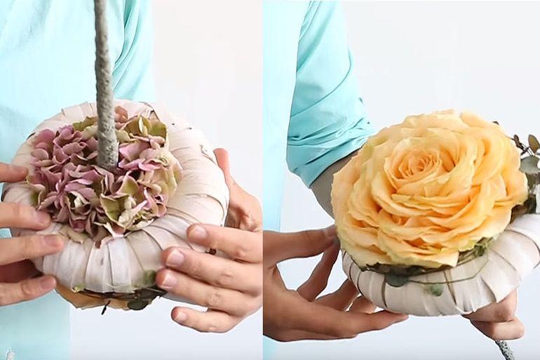 Свадебный букет из лепестков роз