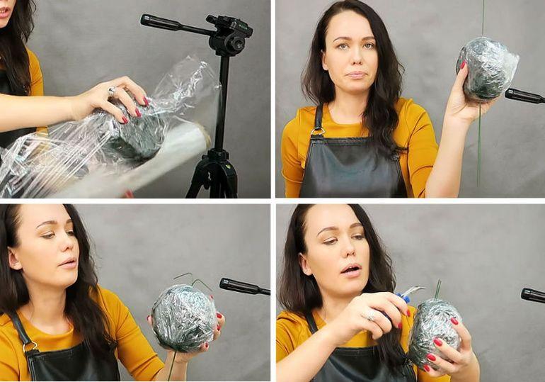 Пошаговая инструкция оформления букета в форме шара