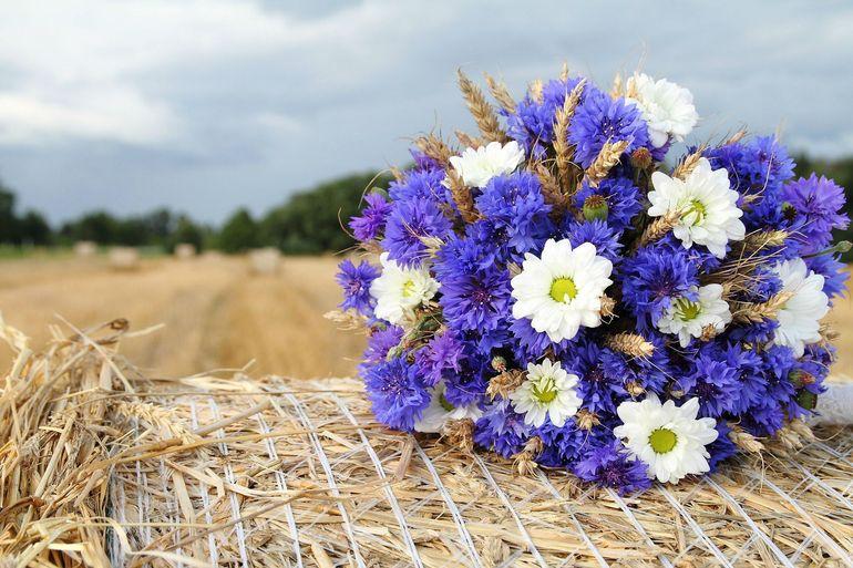 Свадебный букет из ромашек и луговых трав