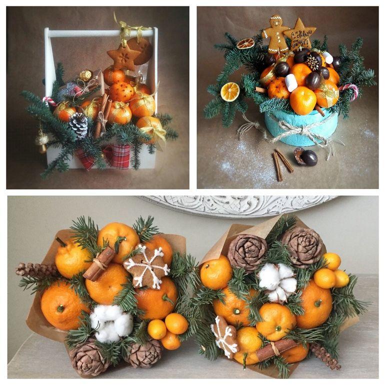 Новогодние букеты из фруктов и имбирных пряников