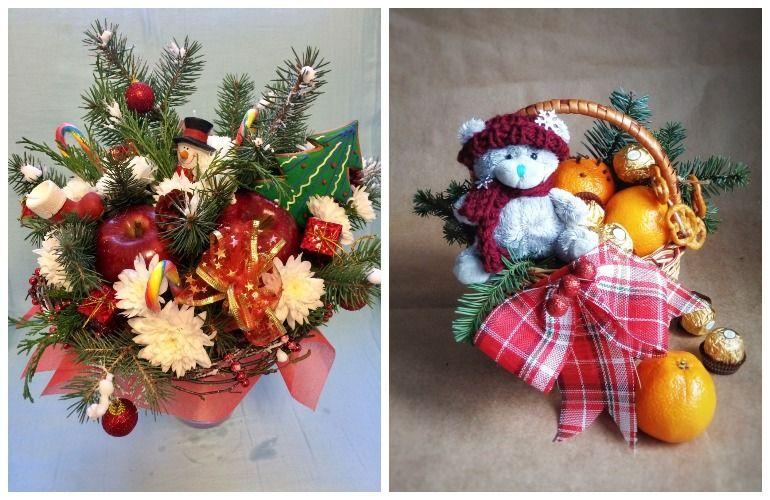 Новогодние букеты из фруктов с мягкими игрушками