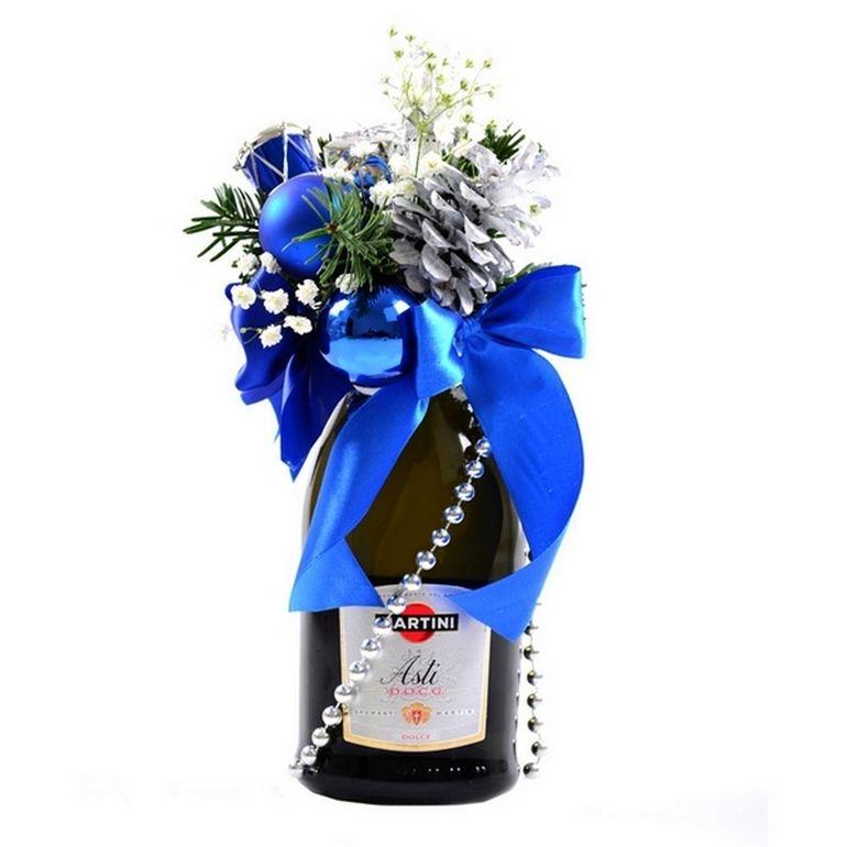 Новогодние букеты с шампанским